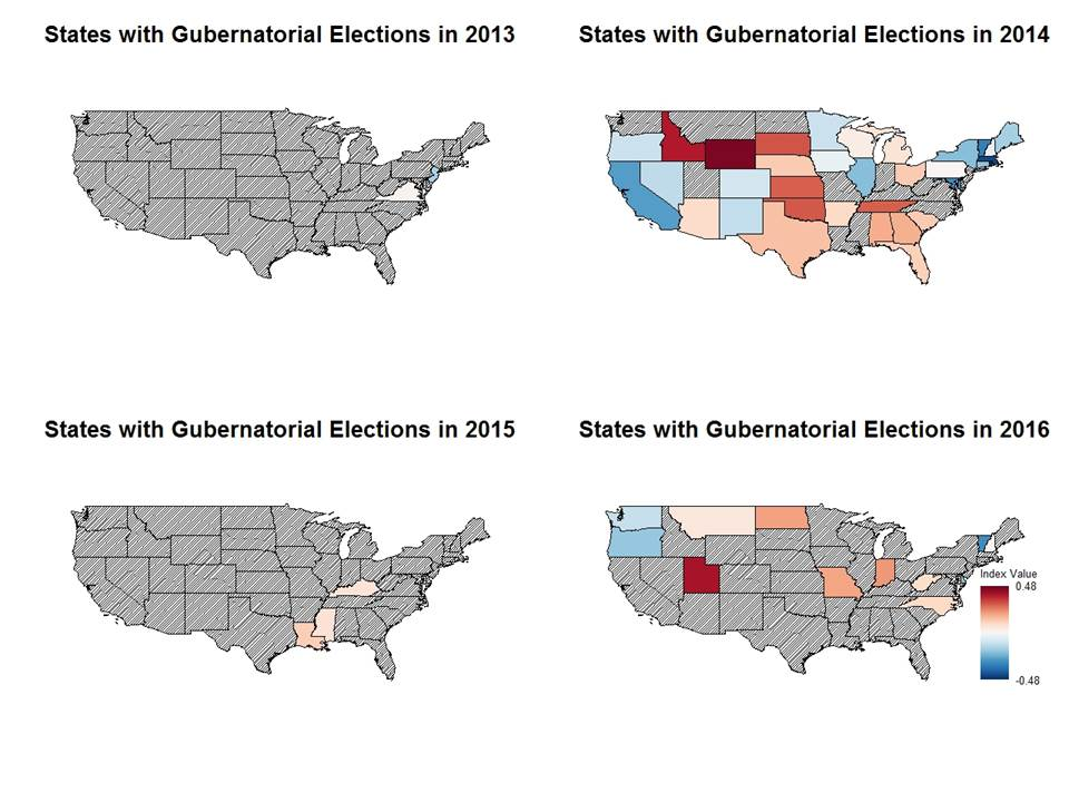 Gubernatorial Map A Red Wall For GOP In RealClearPolitics - 2014 us mid election red vs blue map