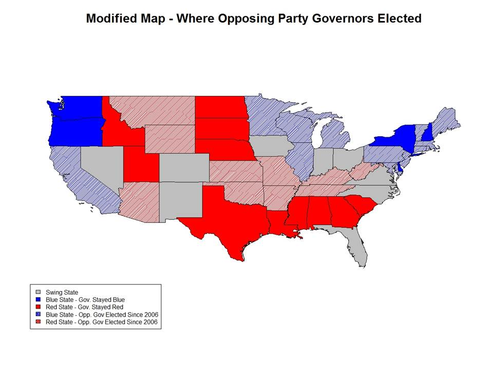 This Map Uses Olson S Stronghold And Swing State Designations To Show Where A Minority Party Gubernatorial Candidate Won Anytime From The 2006 Election To