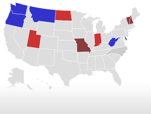 Election Live Results Governors - Political map us governors